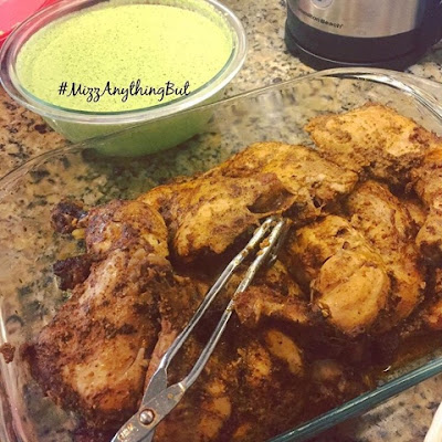 Peruvian Roasted Chicken & Green Sauce...Bonus: Rice & Peas for complete meal...