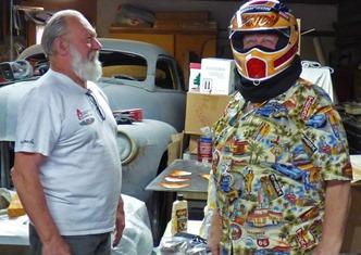Randy Bradford trying on new helmet