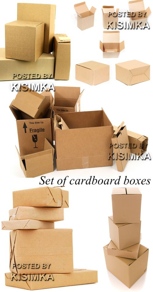 Stock Photo: Set of cardboard boxes