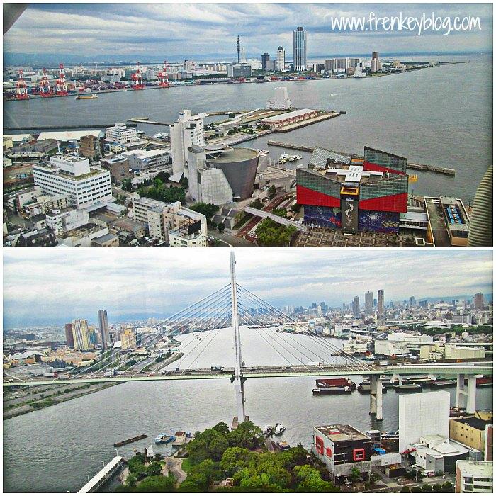 Pemandangan kota Osaka dari Tempozan Ferris Wheel