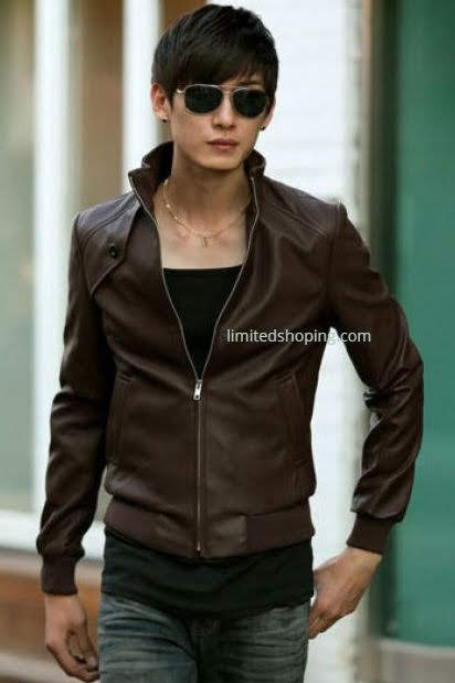 limited shoping brown leather jacket sk32