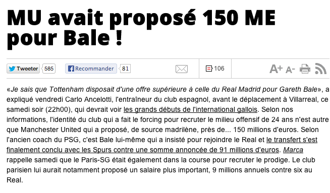 Man United offered €150m for Gareth Bale; former Spurs star only wanted Real Madrid [LEquipe]