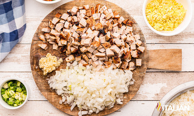 Prepped pork fried rice ingredients