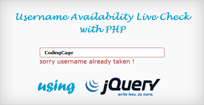 jQuery Username Availability Live Check with PHP and Ajax