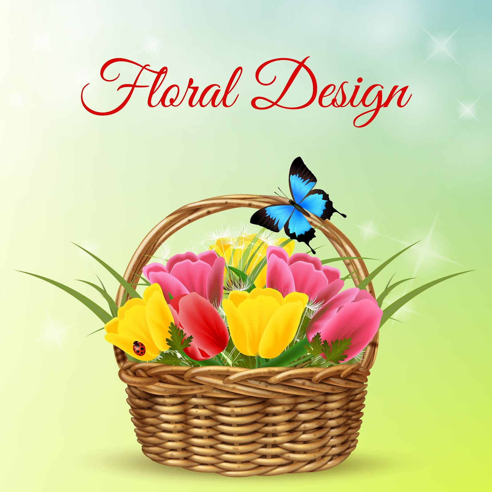 Bouquet Flowers Wicker Basket Free Download Vector CDR, AI, EPS and PNG Formats