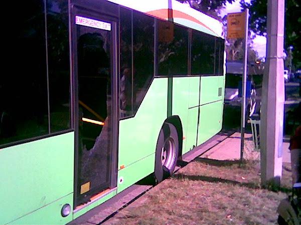 broken bus window