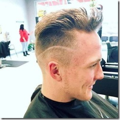 Curved line on sides of hair