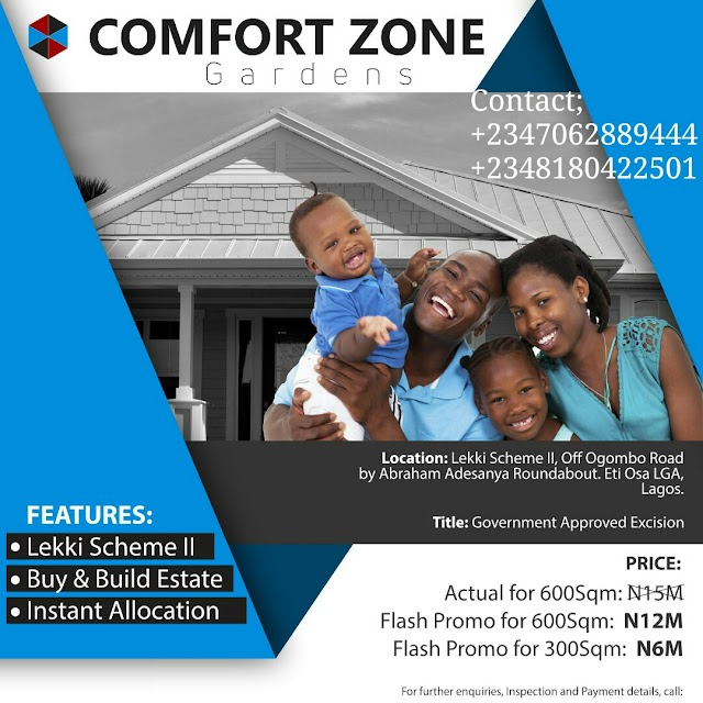 COMFORT ZONE GARDENS, LEKKI SCHEME II, OKUN AJAH, AJAH, LAGOS (LAND FOR SALE)