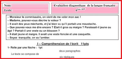 التقويم التشخيصي اللغة الفرنسية المستوى السادس 2021 2022