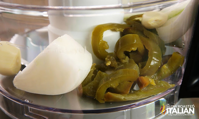 jalapenos, garlic and onion in food processor