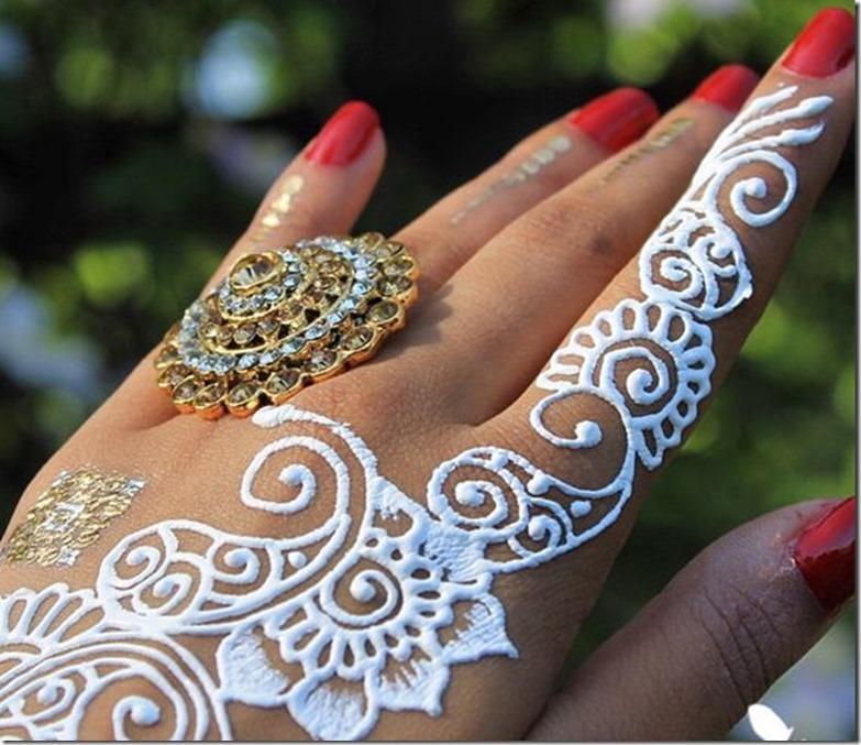 white henna art floral