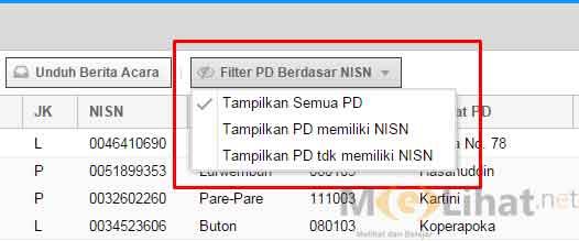 Klik Filter PD Berdasarkan NISN > Tampilkan Semua PD