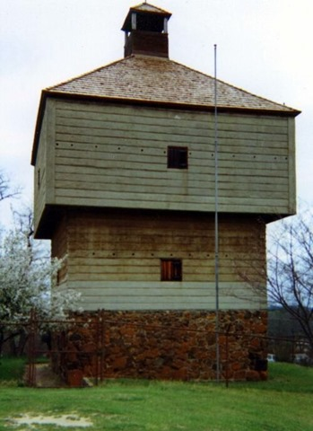 Fort Hawkins (1938 reconstructed southeastern blockhouse). Public Domain image by Macondude via Wikipedia.