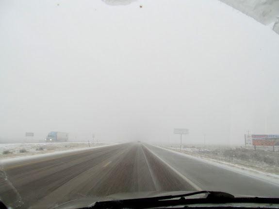 Snowy drive home on I-15