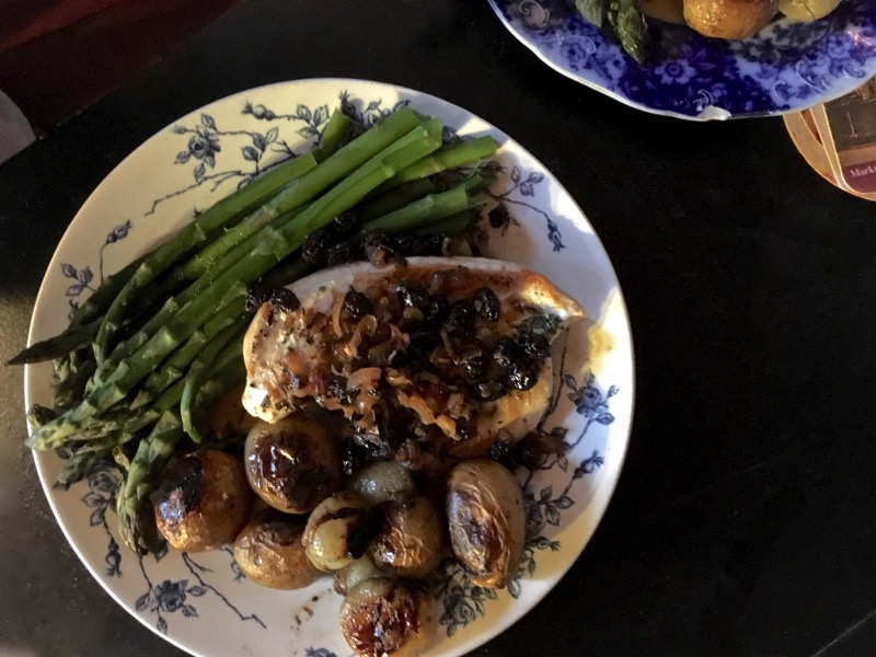 chicken breast, asparagus, potatoes and cipolline