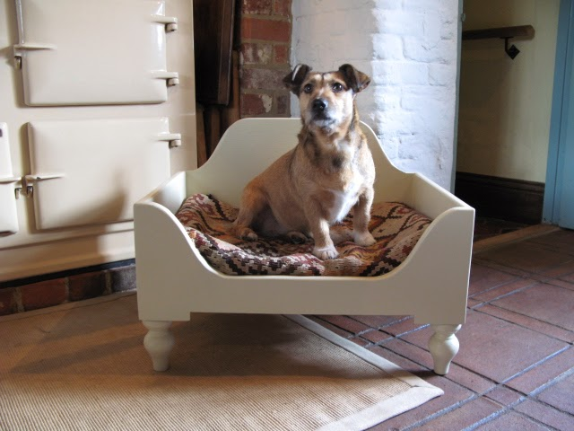 Luxury Raised Wooden Dog Bed Small Hand Painted