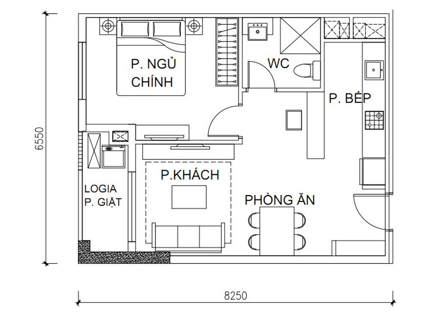 Thông số chi tiết căn hộ 1 phòng ngủDT: 48,12 m2
