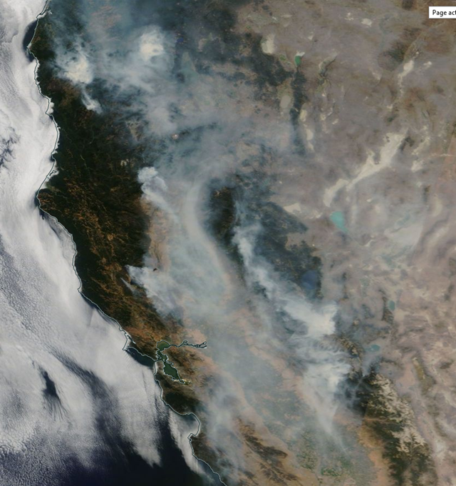 Satellite view of smoke from Northern California wildfires that grew on Monday, 6 August 2018, to become the largest wildfire in state history. Photo: NASA Worldview