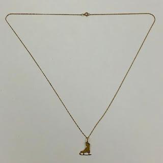 14K Gold Ice Skate Pendant Necklace