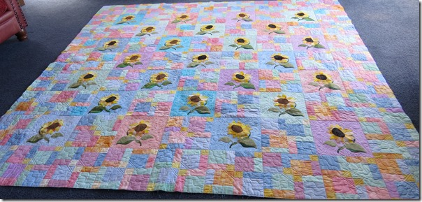 Sallys sunflowers whole quilt