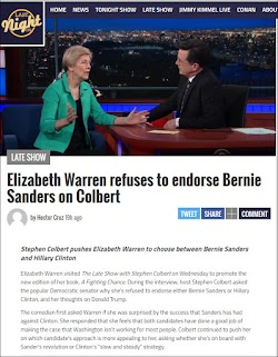 20160331_1800 Elizabeth Warren refuses to endorse Bernie Sanders on Colbert (LastNightOn).jpg
