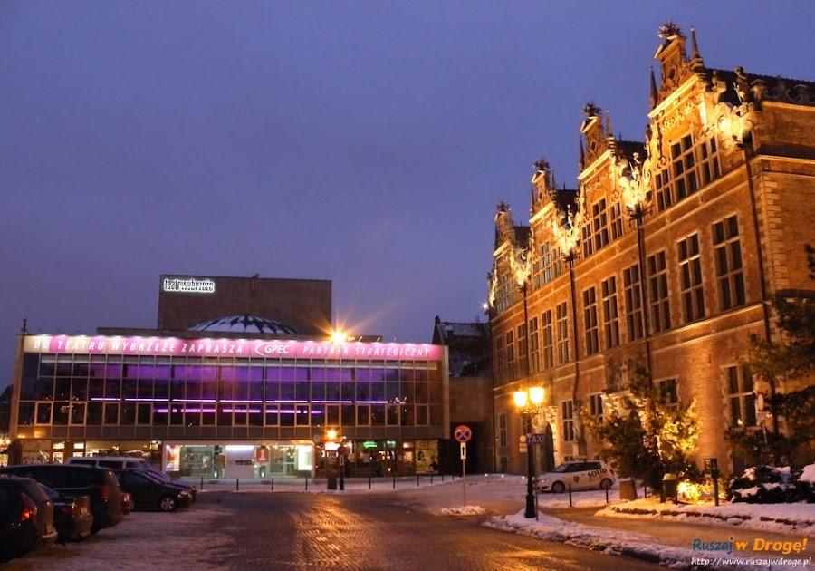 Gdańsk nocą - Targ Węglowy i Teatr Wybrzeże