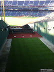 Looking across the bullpen, towards the finish line.