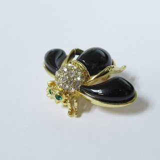 Joan Rivers Enamel Black Bee Pin