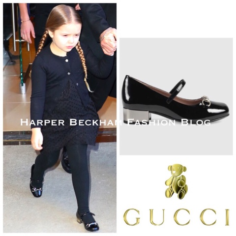 78a7c1c07 Harper completed her all-black outfit with Black Patent Horsebit Shoes by  Gucci.