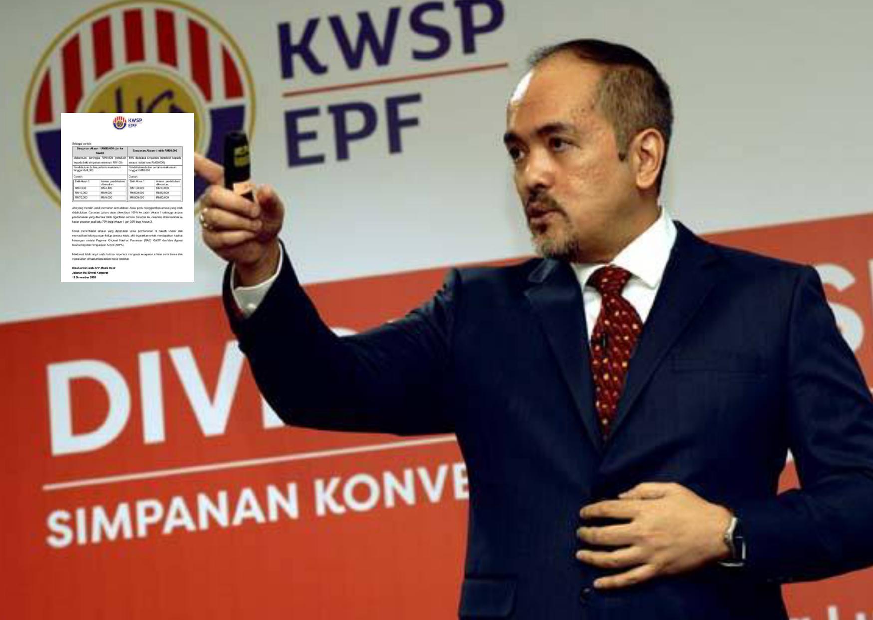 Perincian lengkap skim i - Sinar  pengeluaran akaun 1, KWSP sehingga RM60,000