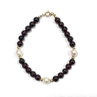 14K Gold & Pearl Red Stone  Bracelet