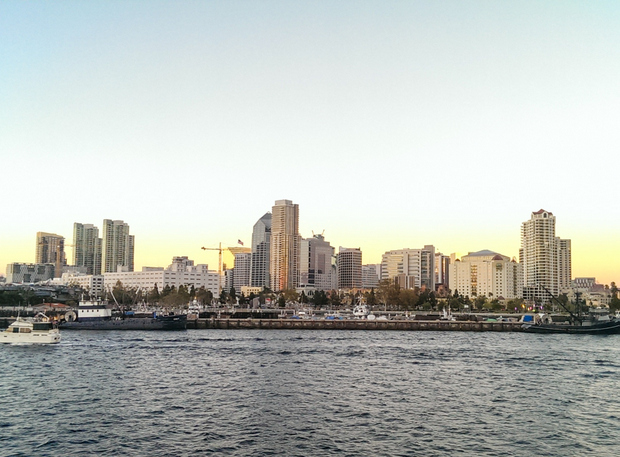 photo of the san diego skyline from the boat