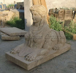 Female, Figure, Interior, Marble, Natural Stone, Sphinx, Statues