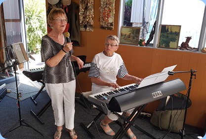 Diane Lyons, vocals, and Jeanette Harding on her Korg Pa3X