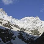 Pic Gaspard, Pointe orientale de la Meije et glacier de l'Homme par où nous souhaitons boucler ce tour.