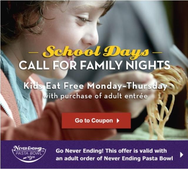 Arizona Families Olive Garden Kids Eat Free Coupon