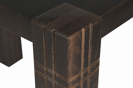 """70"""" x 42"""" Phoenix Dining Table in Blackwash Oak, Leg Detail"""