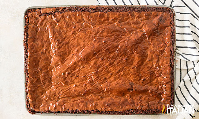 sheet pan of homemade brownies