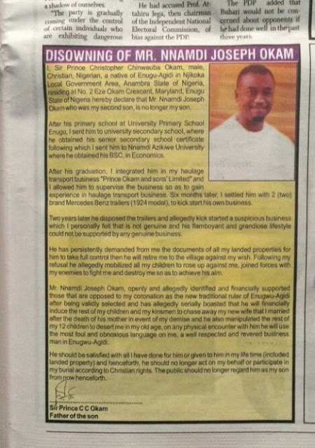 Man Disown his Son on Newspaper Advert
