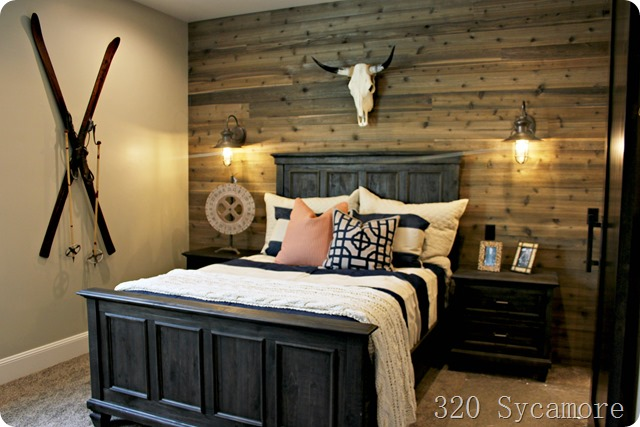 rustic bedroom skis
