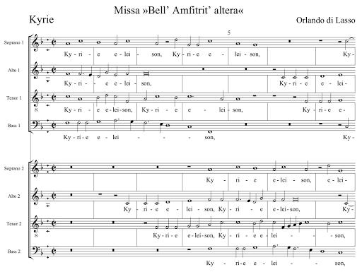 """Inizio della Messa """"Bell'Amfitrit'Altera"""" di Orlando di Lasso, il branno che fa ascoltare Helmut a Martha"""