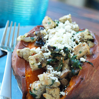 Chicken, Spinach, Mushroom, and Feta Stuffed Sweet Potatoes.