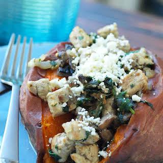 Chicken, Spinach, Mushroom, and Feta Stuffed Sweet Potatoes.