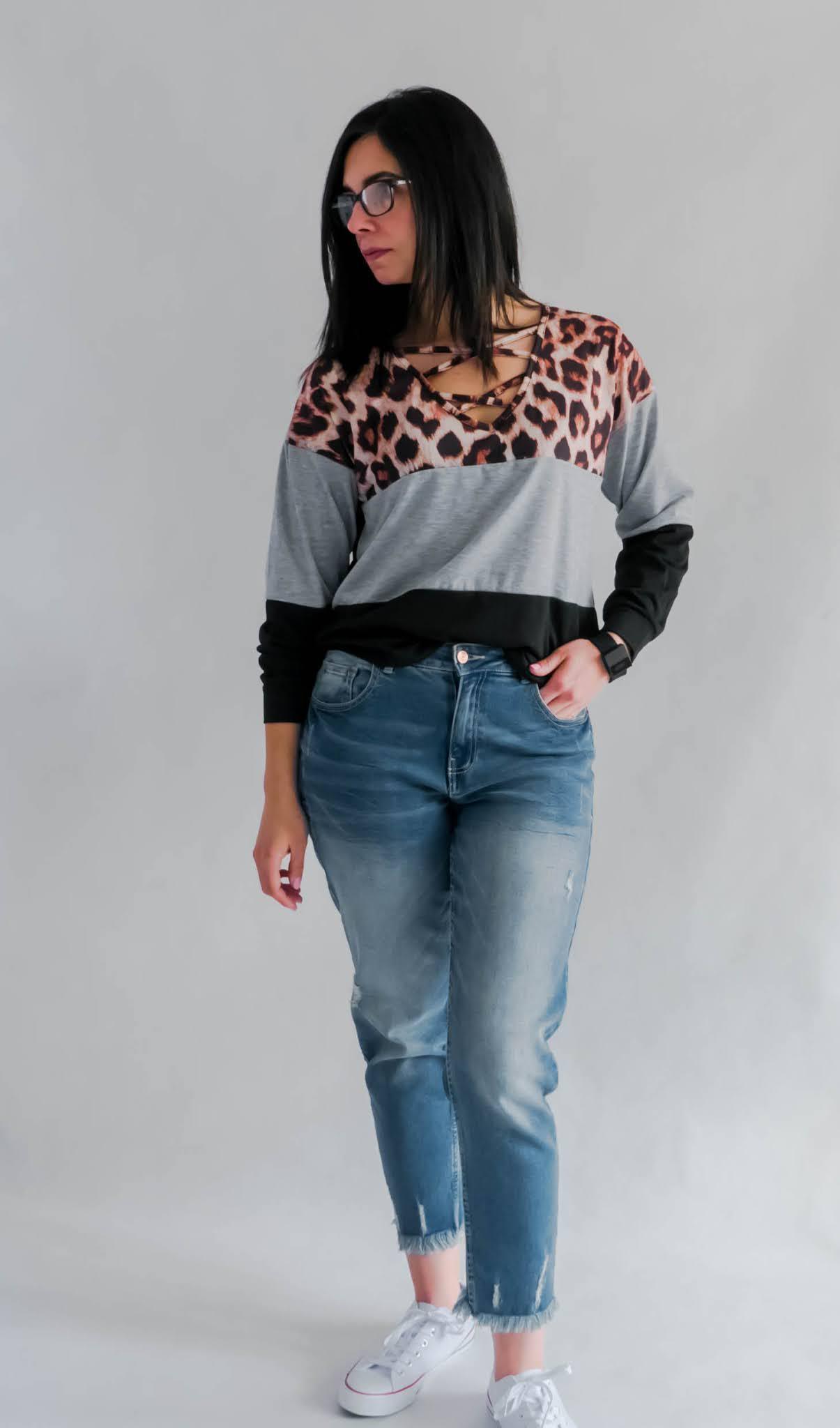 bluzki z motywem panterki