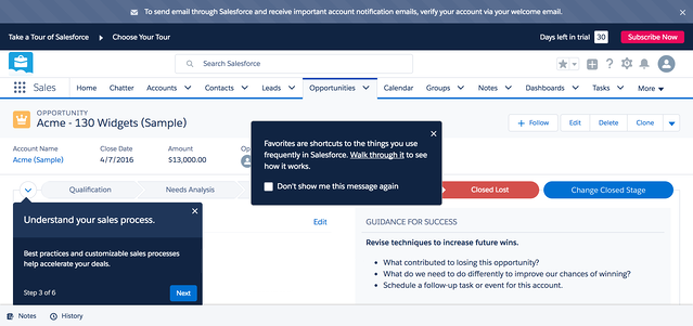 Salesforce CRM onboarding users on two features at the same time