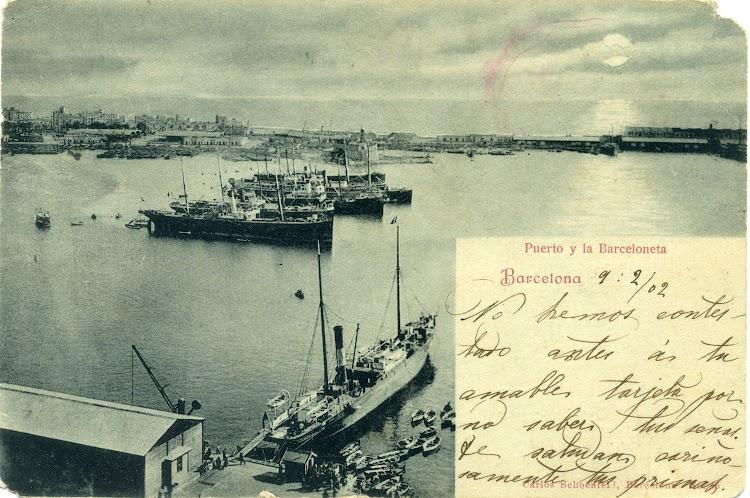 Vapor LULIO en el puerto de Barcelona. Fecha indeterminada. Union Postal Universal.jpg