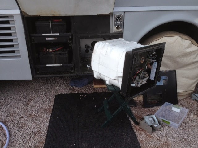 RV water heater removed