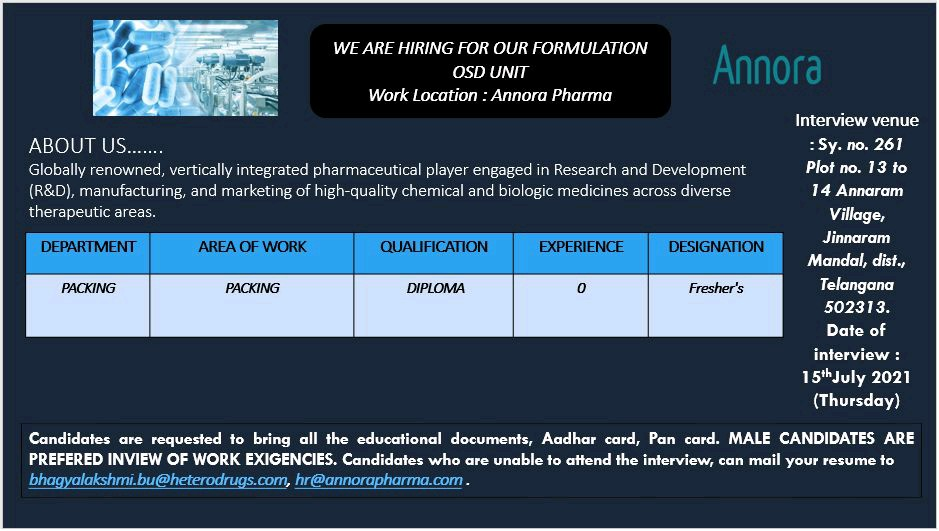 Opening For Freshers In Packing Department At Annora Pharma
