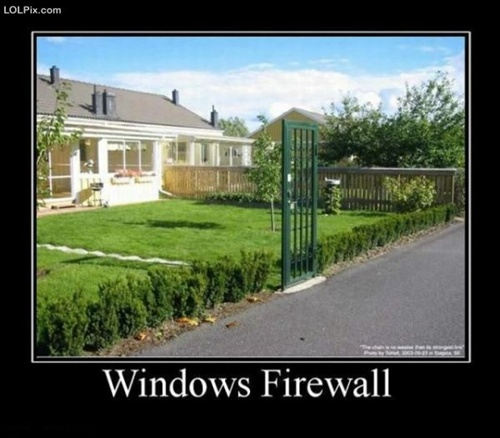 photo of just a security door and no fence...Windows Firewall