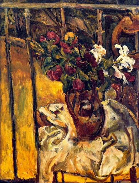 Chaim Soutine - Bouquet of Flowers on a Balcony